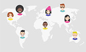 World map infographics. Icons of young people. International network. Diversity. Flat editable vector illustration, clip art