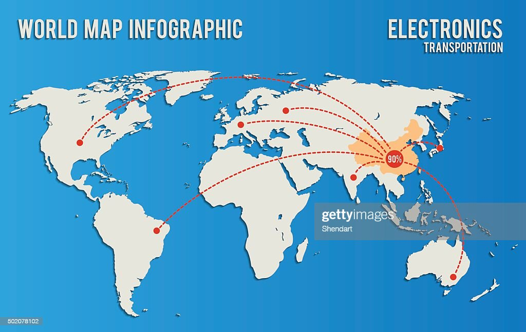 world map infographics influence supply electronic