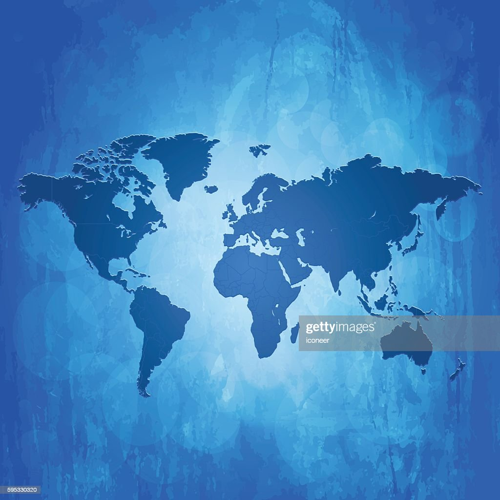 World map inked blue on metal grunge background vector art getty world map inked blue on metal grunge background vector art gumiabroncs Choice Image