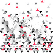 World Map isolated on abstract geometric background