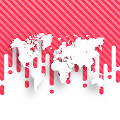 World Map isolated on abstract red background