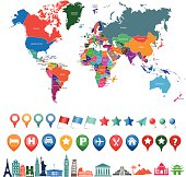 world map kit with landmarks and gps icons