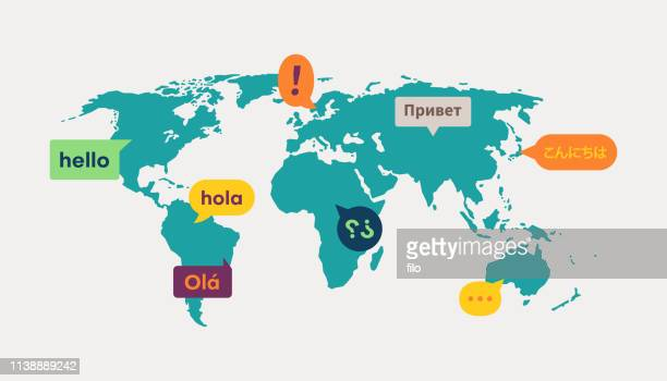 ilustrações de stock, clip art, desenhos animados e ícones de world map language translation communication - mapadomundo