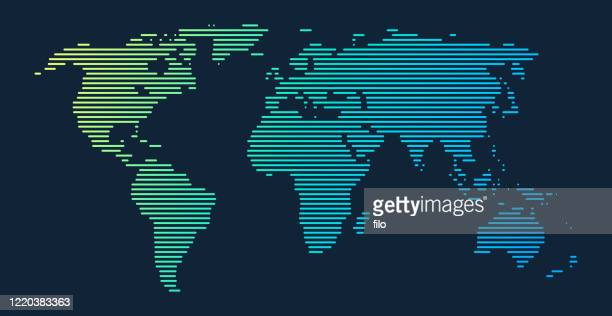 illustrazioni stock, clip art, cartoni animati e icone di tendenza di sfumatura linee mappa del mondo - planisfero