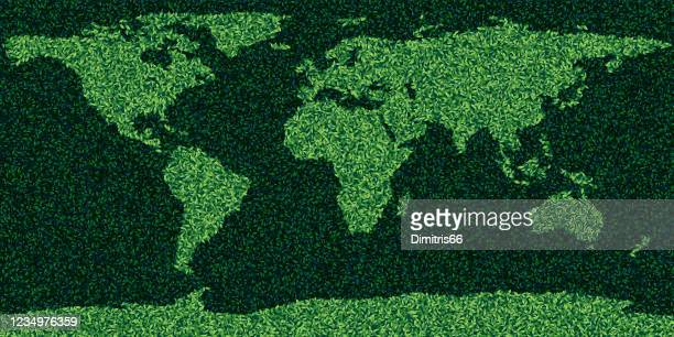 illustrazioni stock, clip art, cartoni animati e icone di tendenza di world map made form leaves and grass - europa continente
