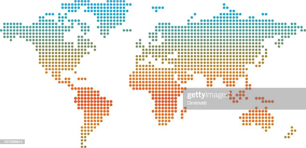 World map made from colored dots indicating temperature. : Stock Illustration