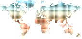 World map made from colored dots indicating temperature.