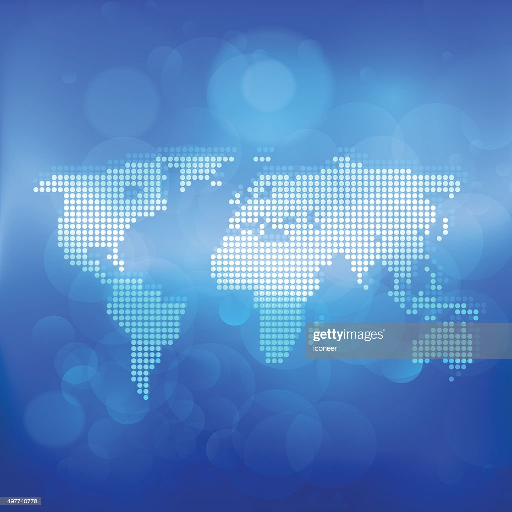 World map made of dots on blue bubble background vector art getty world map made of dots on blue bubble background vector art gumiabroncs Images