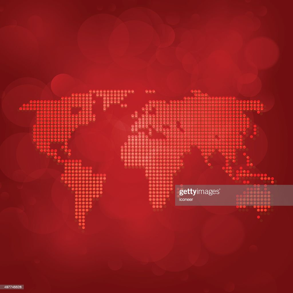 World map made of dots on red bubble background vector art getty world map made of dots on red bubble background vector art gumiabroncs Images