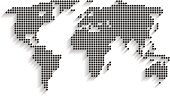 World map made of dots on white background