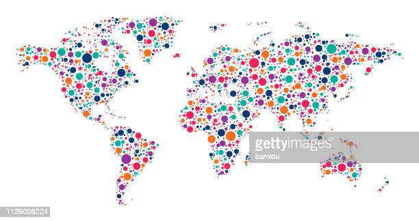 illustrazioni stock, clip art, cartoni animati e icone di tendenza di world map made of multicolored dots - europa continente