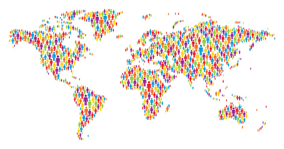 World Map Made of Multicolored Stickman Figures - gettyimageskorea