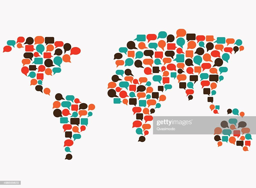 World map made of speech bubbles. Translating, interpreter, communication concept