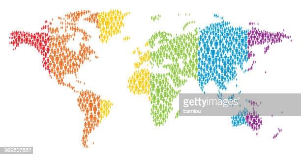 World Map Made of Stickman Figures with Pride Flag colors