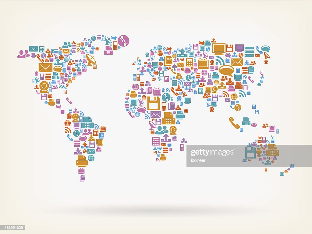 World map made of technology icons vector art getty images world map made of technology icons vector art gumiabroncs Images