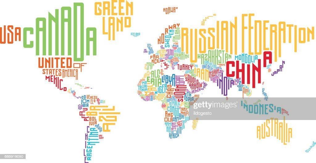 World map made of typographic country names vector art getty images world map made of typographic country names vector art gumiabroncs Gallery