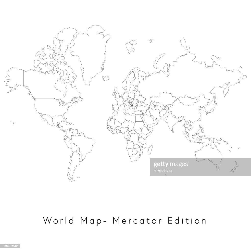 World map mercator edition vector art getty images world map mercator edition vector art gumiabroncs Choice Image