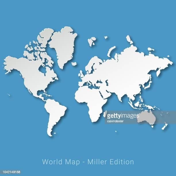 illustrazioni stock, clip art, cartoni animati e icone di tendenza di mappa del mondo miller edition - paese area geografica