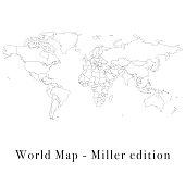 World map Miller edition