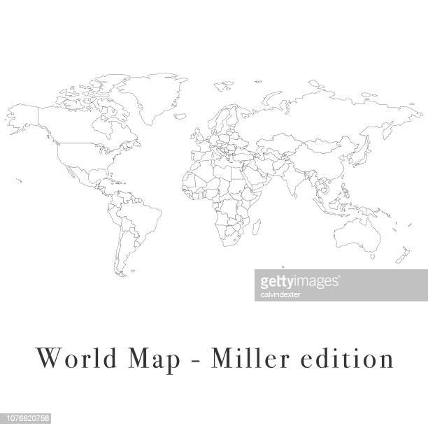 world map miller edition - international border stock illustrations, clip art, cartoons, & icons