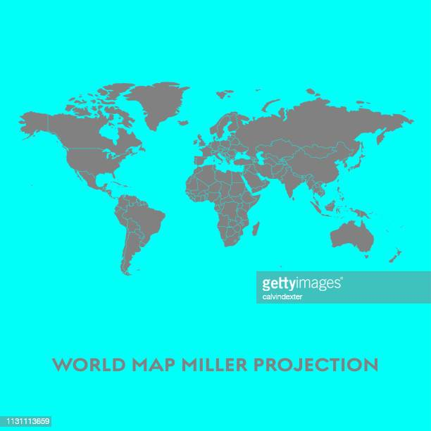 world map miller projection - south america stock illustrations