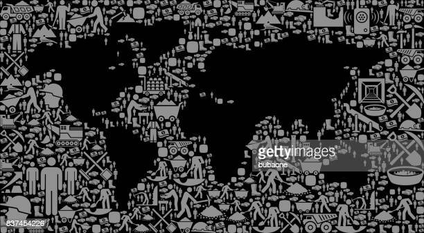 World Map Mining Industry Vector Graphic