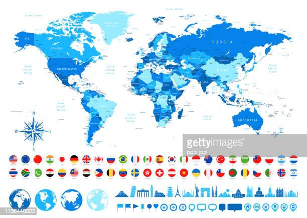 world map, most popular flags, travel icons - borders, countries and cities - vector illustration - all european flags stock illustrations