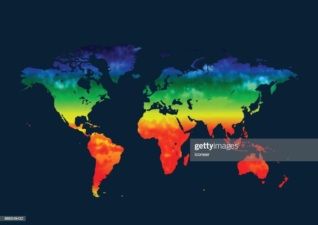 World map multicolor on blue background : Stock Illustration