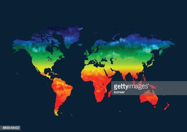 青の背景に多色の世界地図