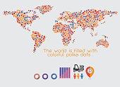 World Map multicolored polka dots