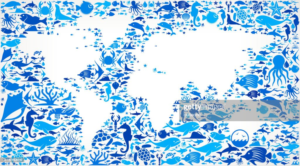 World map ocean and marine life blue icon pattern vector art getty world map ocean and marine life blue icon pattern vector art gumiabroncs Gallery
