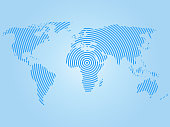 World map of blue concentric rings on white background. Worldwide communication radio waves concept Modern design vector wallpaper