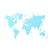 World map of blue dots on white background