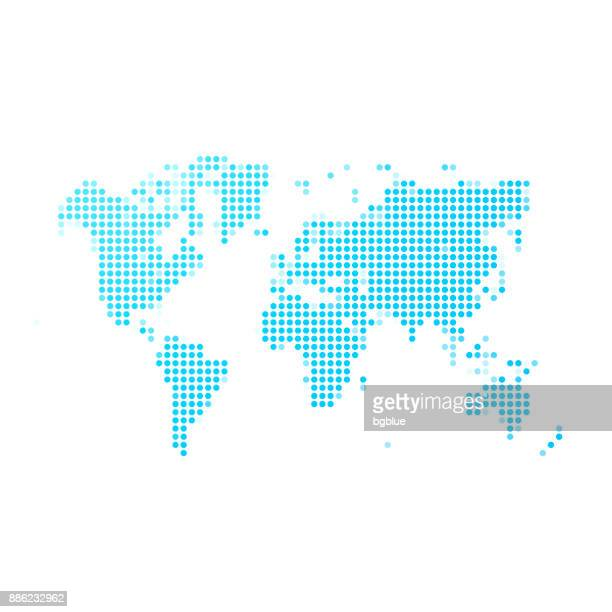illustrazioni stock, clip art, cartoni animati e icone di tendenza di world map of blue dots on white background - europa continente