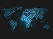 World map of concentric rings. Blue led light futuristic design on dark background. Vector illustration