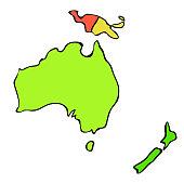 world map of continent australia. vector illustration