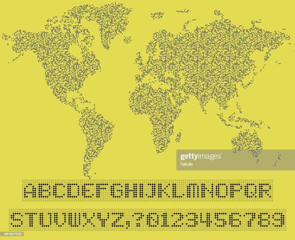 World map of dots led uppercase english alphabet number vector world map of dots led uppercase english alphabet number vector illustration vector art gumiabroncs Image collections