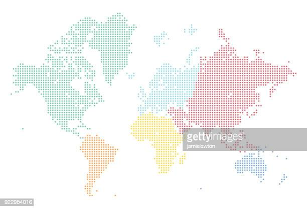 illustrazioni stock, clip art, cartoni animati e icone di tendenza di world map of dots split into continents - europa continente