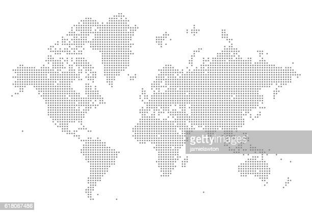 world map of dots - spotted stock illustrations