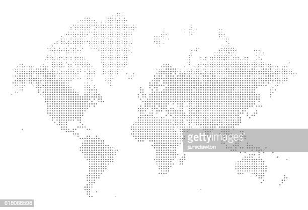 world map of dots - north america stock illustrations