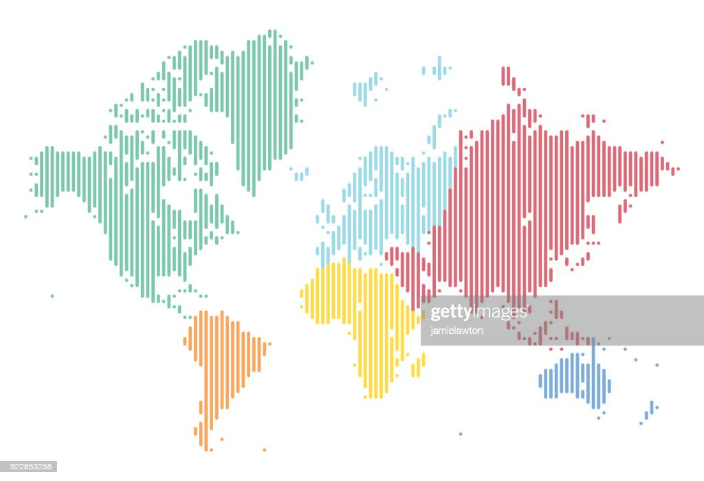 world map of lines split into continents vector art