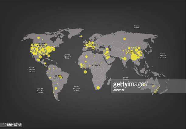 stockillustraties, clipart, cartoons en iconen met wereldkaart van de verspreiding van het coronavirus - colombia land