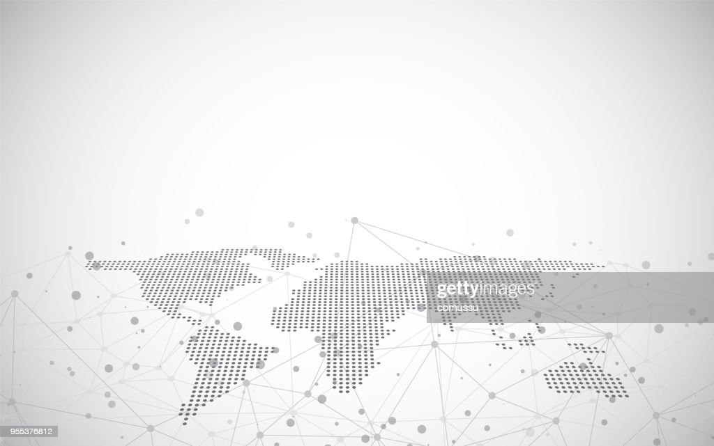 World map on a technological background, glowing lines symbols of the Internet, radio,global business.
