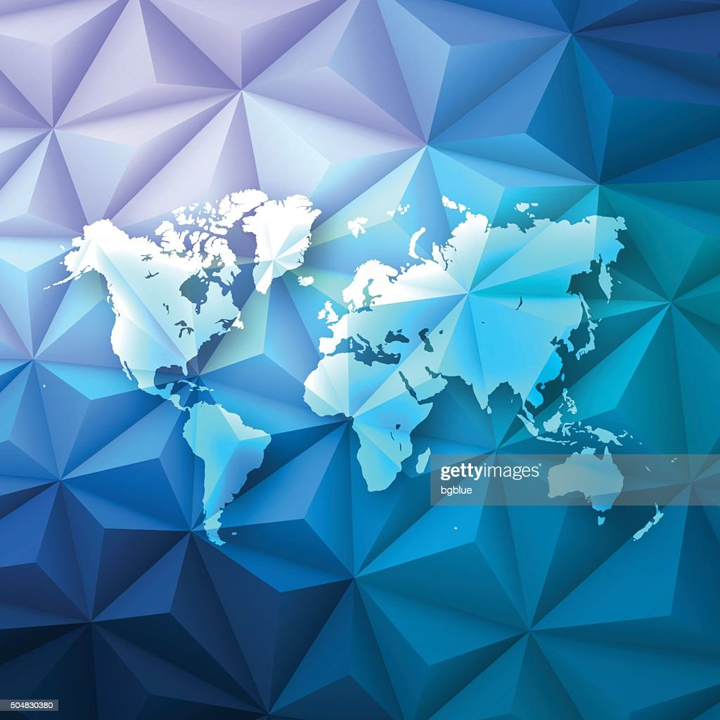 World map on abstract polygonal background low poly geometric world map on abstract polygonal background low poly geometric vector art gumiabroncs Images