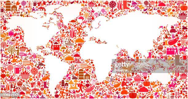 World Map on Autumn royalty free vector art Pattern Background