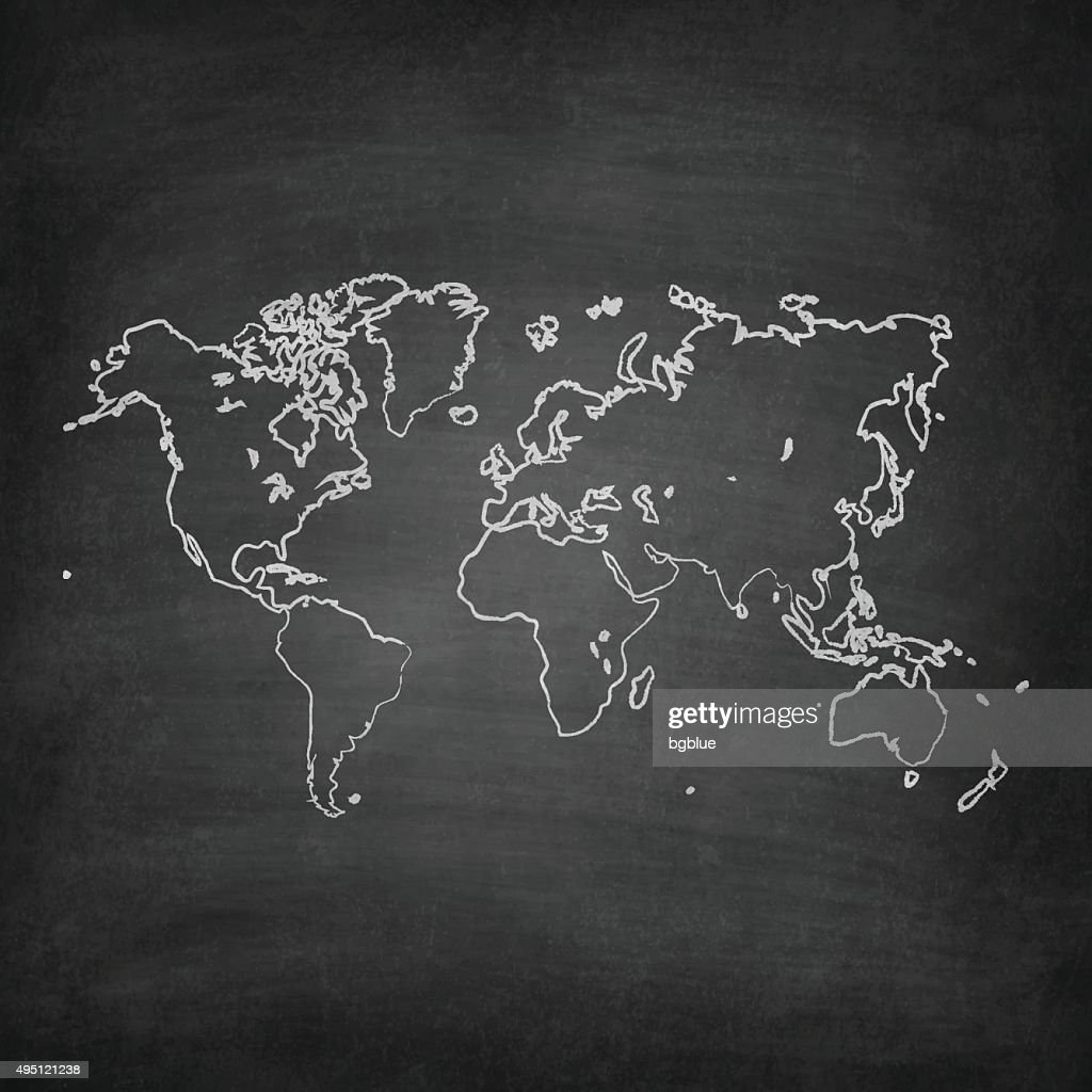 World Map on Blackboard - Chalkboard