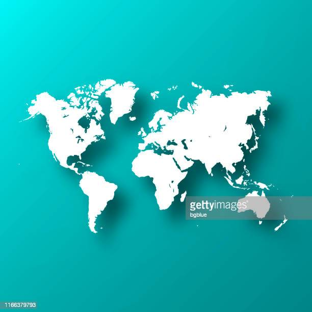 illustrazioni stock, clip art, cartoni animati e icone di tendenza di world map on blue green background with shadow - europa continente
