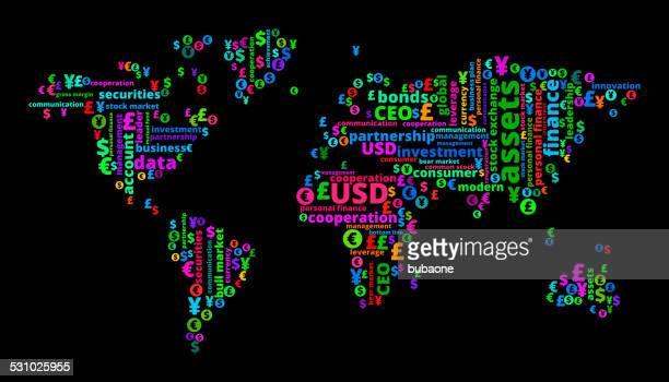 ilustraciones, imágenes clip art, dibujos animados e iconos de stock de mapa mundial por negocios y finanzas nube de palabras - geografía física