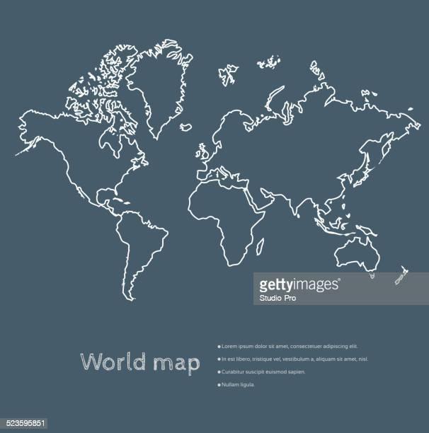 世界地図に黒板 - 北点のイラスト素材/クリップアート素材/マンガ素材/アイコン素材