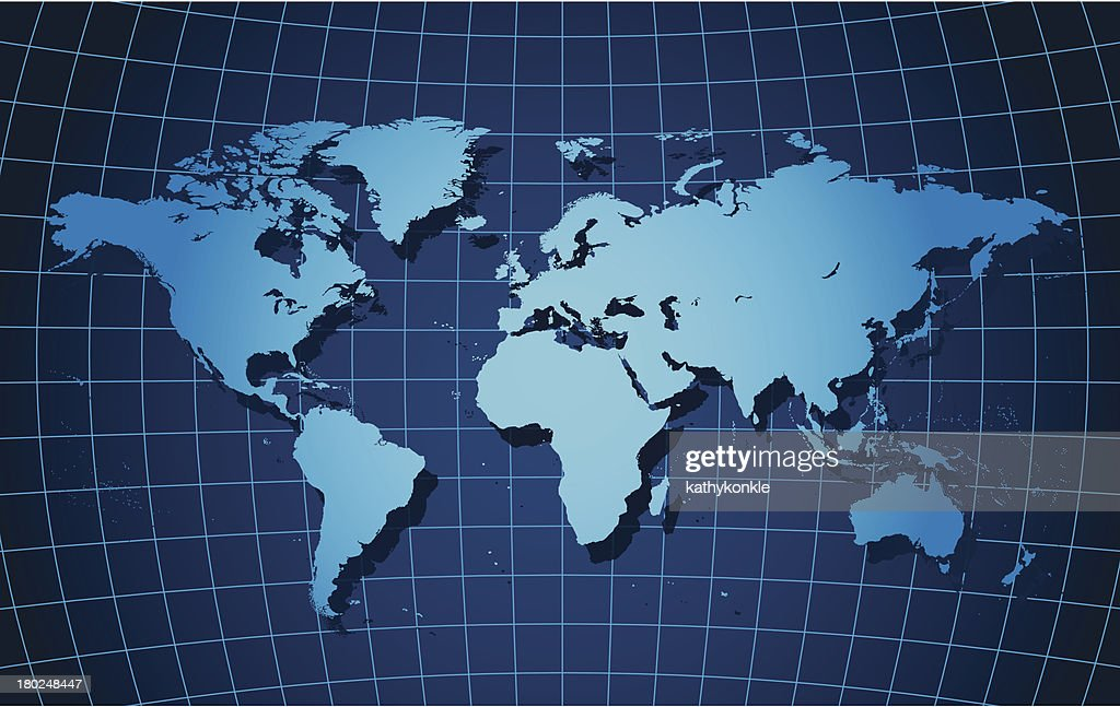 World map on curved grid vector art getty images world map on curved grid vector art gumiabroncs Images